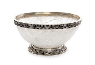 A Silvered Metal Mounted Carved Rock Crystal Center Bowl Diameter 17 1/2 inches.