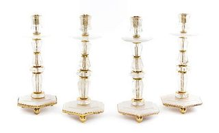 A Set of Four Gilt Metal Mounted Rock Crystal Candlesticks Height 16 inches.