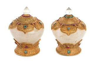 A Pair of Gilt Filigree Mounted Rock Crystal Covered Bowls Height 5 1/4 inches.