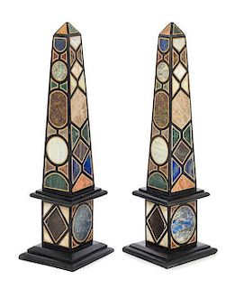 A Pair of Grand Tour Style Specimen Marble Obelisks Height 21 inches.