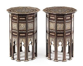 A Pair of Moorish Inlaid Side Tables Height 31 x width 18 inches.
