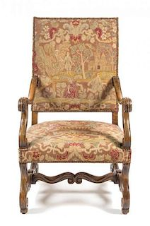A Henry II Style Walnut Library Chair Height 43 1/4 inches.