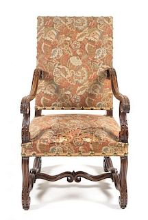 A Henry II Style Walnut Library Armchair Height 44 inches.