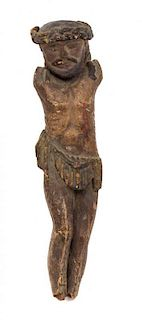 * A French Carved and Painted Wood Corpus Christi Height 9 3/4 inches.