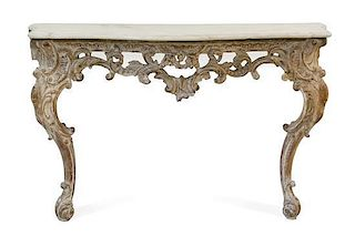 A Regence Limed Wood Console Table Height 33 x width 64 x depth 16 inches.