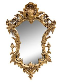 A Rococo Style Giltwood Mirror Height 23 1/2 x width 15 inches.
