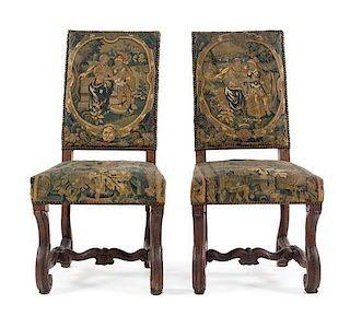 * A Pair of Louis XIV Walnut Side Chairs Height 42 1/2 inches.