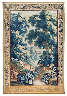 * A Beauvais Wool and Silk Tapestry 10 feet 6 inches x 7 feet 11 inches.