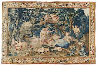 A Beauvais Wool and Silk Tapestry 11 feet 6 inches x 14 feet 4 inches.