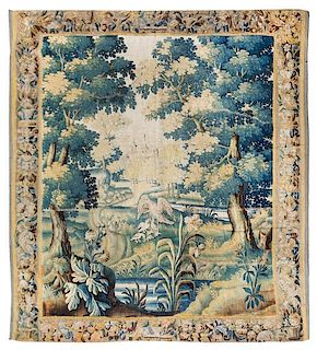 * An Aubusson Wool Tapestry 8 feet 9 inches x 8 feet 2 inches.