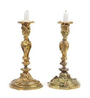 * A Pair of Louis XV Style Gilt Bronze Candlesticks Height 10 inches.