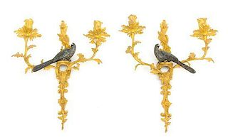 A Pair of Continental Gilt and Cold Painted Bronze Two-Light Sconces Height 15 1/2 inches.