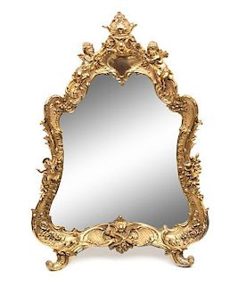 A Louis XV Style Gilt Metal Dressing Mirror Height 20 1/4 inches.