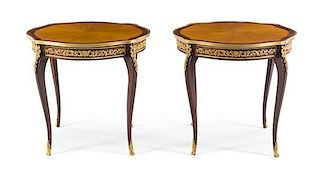 A Pair of Louis XV Style Gilt Metal Mounted Tables Height 30 x width 31 3/4 inches.