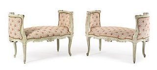 A Pair of Louis XV Style Painted Window Seats Height 29 x width 42 1/4 inches.