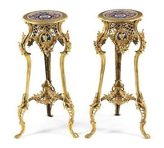 A Pair of Louis XV Style Gilt Bronze and Porcelain Inset Pedestals Height 29 1/2 inches.