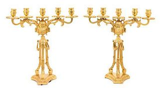 A Pair of Louis XVI Style Gilt Bronze Five-Light Candelabra Height 20 inches.