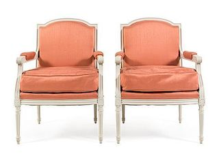 A Pair of Louis XVI Style Painted Fauteuils Height 38 1/2 inches.
