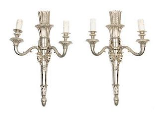 A Pair of Louis XVI Style Silvered Bronze Two-Light Sconces Height 23 inches.