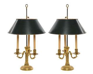 A Pair of Louis XVI Style Gilt Bronze Bouillotte Lamps Height 27 inches.