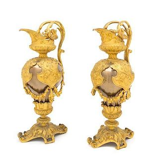 A Pair of Louis Philippe Style Gilt Bronze Mounted Ewers Height 12 1/2 inches.