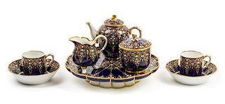 A Sevres Porcelain Tea Service Diameter of tazza 8 3/4 inches.