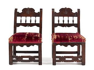 * A Pair of French Walnut Side Chairs Height 31 inches.