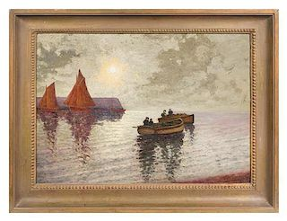 * Artist Unknown, (French, Late 19th/Early 20th Century), Moonlight Rowers