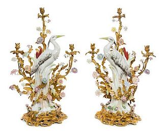 A Pair of Gilt Bronze Mounted Porcelain Three-Light Candelabra Height 32 inches.