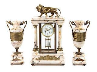 A Continental Gilt Bronze and Marble Clock Garniture Height of mantel clock 20 inches.