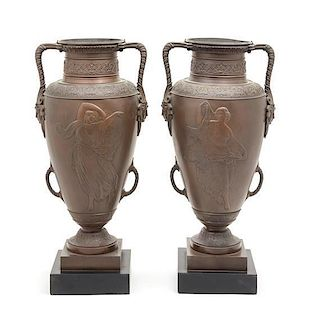 * A Pair of Neoclassical Bronze Urns Height 18 3/4 inches.