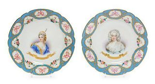 A Pair of Sevres Style Porcelain Plates Diameter 9 1/4 inches.