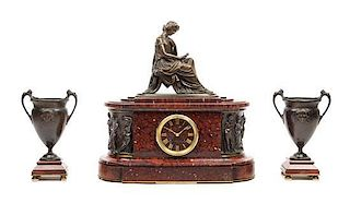 A French Bronze and Marble Clock Garniture Height of mantel clock 17 3/8 x width 17 inches.