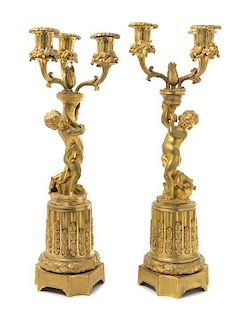 * A Pair of French Gilt Bronze Three-Light Candelabra Height 16 1/2 inches.