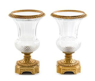 A Pair of Gilt Bronze Mounted Cut Glass Urns Height 13 1/4 inches.