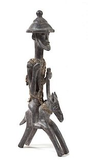 * A Bamana Wood Figural Group Height 38 1/8 inches.