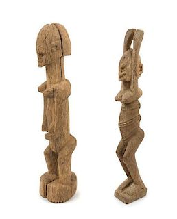 * Two Dogon Wood Figures Height of taller example 17 1/8 inches.