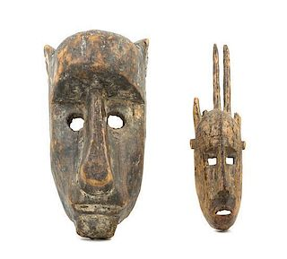 * Two Bamana Wood Masks Height of tallest 15 1/2 inches.