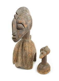 * Two Baga Wood Articles Height of taller example 22 1/2 inches.
