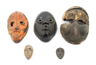 * A Group of Five Masks Height of tallest 10 inches.