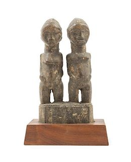 * A Baule Wood Figural Group Height overall 11 3/4 inches.