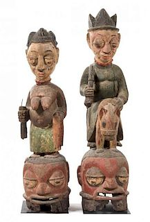 * Two Yoruba Wood Masks Height of taller example 43 1/4 inches.