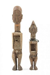 * Two Teke Wood Fetish Figures Height of tallest 14 3/4 inches.