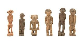 * Six Chokwe Wood Figures Height of tallest 6 3/8 inches.