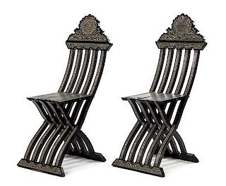 A Pair of Syrian Mother-of-Pearl Inlaid Ebonized Chairs Height 42 inches.
