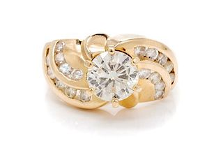 * A 14 Karat Yellow Gold Clarity Enhanced Diamond and Diamond Ring,containing onefracture filled round brilliant cut diamon