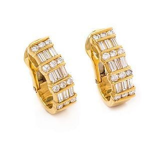 * A Pair of 18 Karat Yellow Gold and Diamond 'Les Classiques' Earclips, GEMLOK, 11.20 dwts.