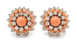 A Pair of Bicolor Gold, Angel Skin Coral and Diamond Earclips, 18.45 dwts.