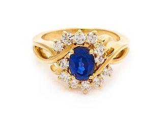 An 18 Karat Yellow Gold, Sapphire and Diamond Ring, Kurt Wayne, 5.80 dwts.