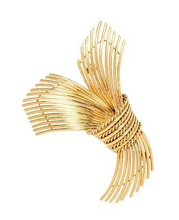 A 14 Karat Yellow Gold Brooch, Grosse for Tiffany & Co., Germany, 9.10 dwts.